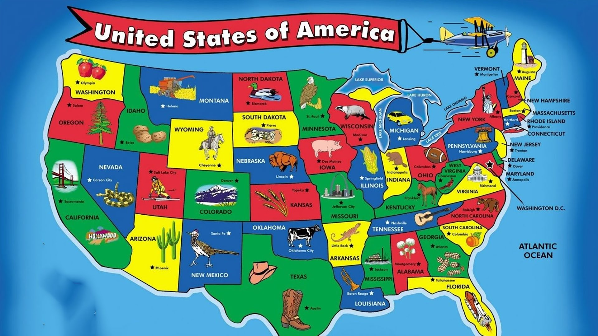 50 States-Capitals and Population of America