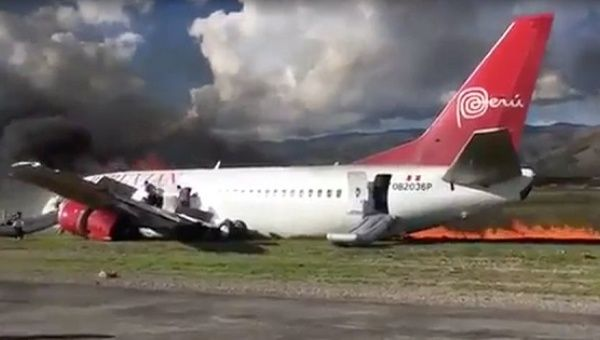 Plane Catches Fire While Landing in Peru