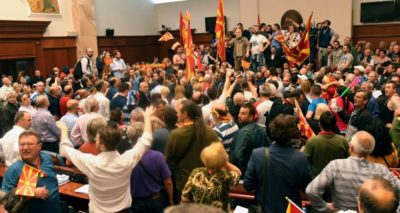 Politician Injured in a fight inside Macedonian Parliament