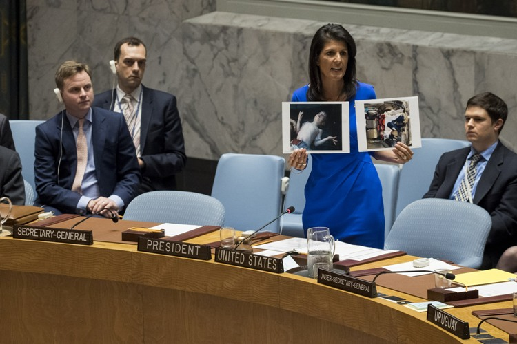 US Ambassador Nikki Haley at UN with Shocking Syria Pictures