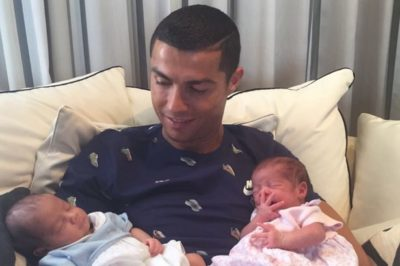 First Picture of Ronaldo with Newborn Twins