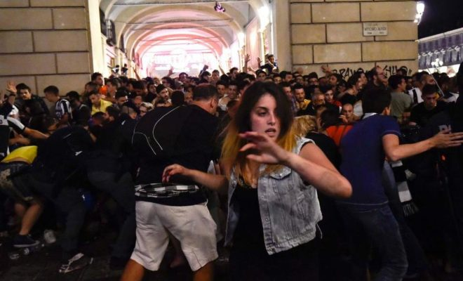 Panic among Juventus Football Fans in Turin