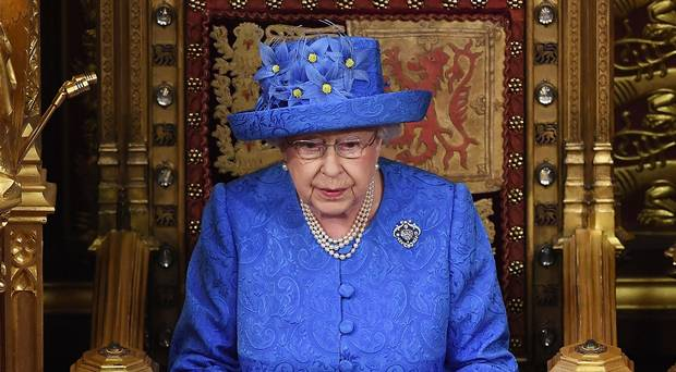 Queen Elizabeth II Delivers Speech Wearing EU Flag Hat