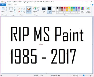 Microsoft Drawing Program Paint Killed Off after 32 Years