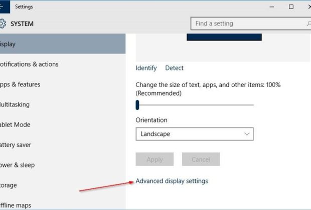 Settings for Display in Windows 10