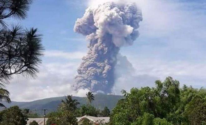 Volcano Soputan Erupts on the Indonesian Island of Sulawesi