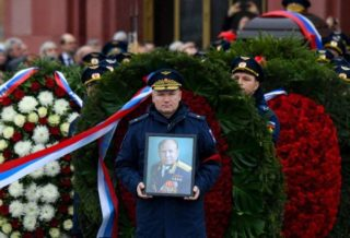 American and Russian Astronauts at Funeral of First Space Walker